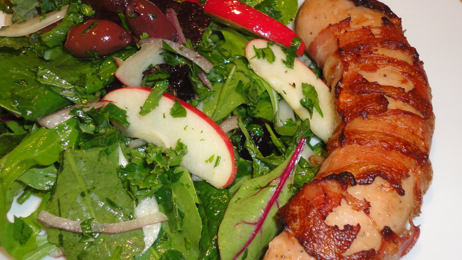 Recipe #3 | Bacon Wrapped Chicken Sausage With Apple Kale Salad
