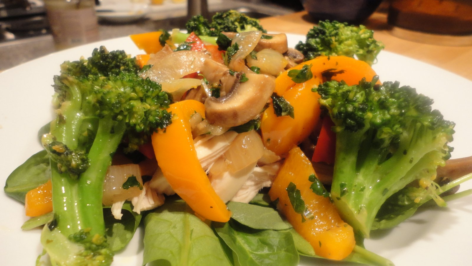 Recipe 48 sauteed vegetable and chicken spinach salad